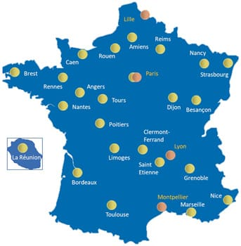 carte de france des centres